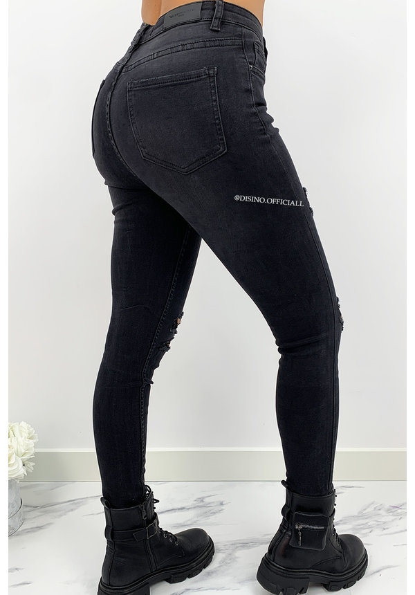 QUEEN HEARTS JEANS - BLACK - PERFECT RIPPED SUPER HIGH WAIST - 834