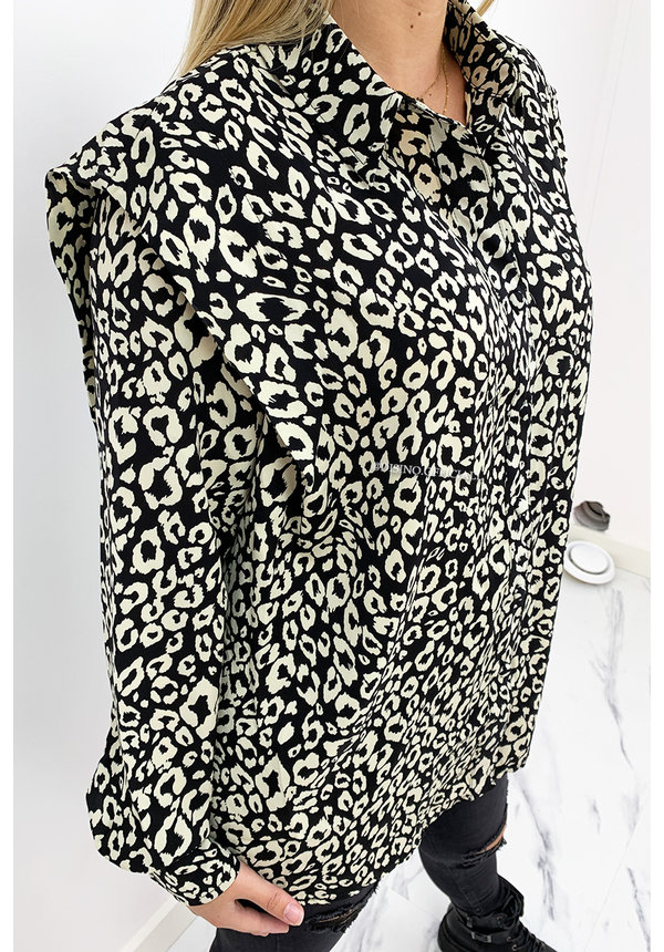 BEIGE - 'QUINTY' - OVERSIZED RUFFLE LEOPARD PRINT BLOUSE
