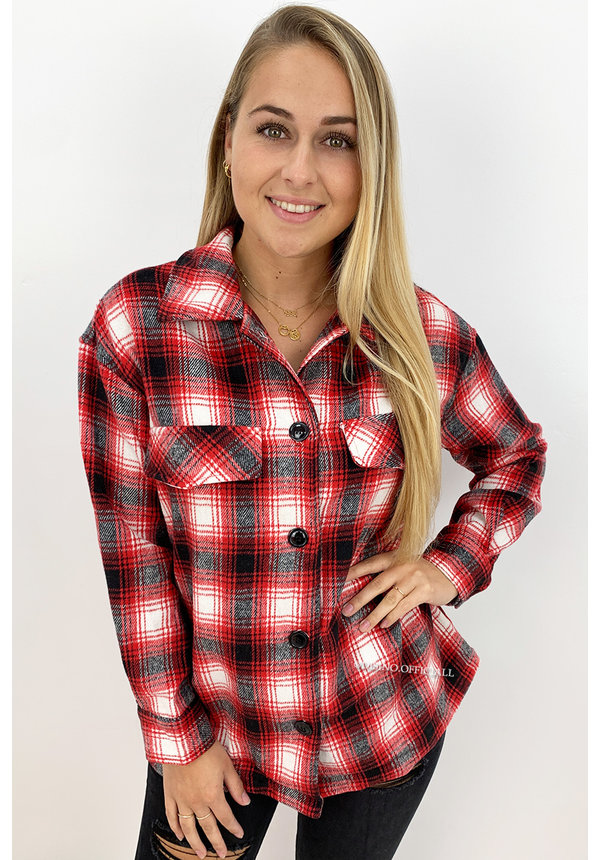RED - 'LINDA' - COZY CHECKED BLOUSE JACK