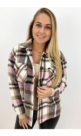 PINK - 'SIEN DOUBLE POCKET' - OVERSIZED FLANNEL BLOUSE JACK