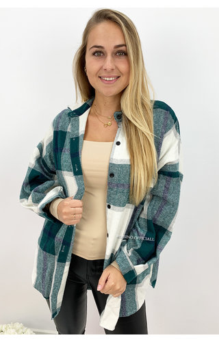 PETROL GREEN - 'SIMONE' - OVERSIZED ONE POCKET CHECKED FLANEL BLOUSE