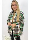 GREEN - 'SIMONE' - OVERSIZED ONE POCKET CHECKED FLANEL BLOUSE
