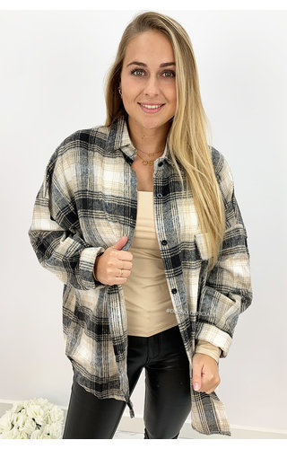 GREY - 'SIMONE' - OVERSIZED ONE POCKET CHECKED FLANEL BLOUSE