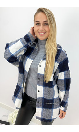 NAVY BLUE - 'SIMONE' - OVERSIZED ONE POCKET CHECKED FLANEL BLOUSE