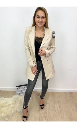 BEIGE - 'KIMMY' - GOLD BUTTON BLAZER