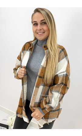 CAMEL - 'SIMONE' - OVERSIZED ONE POCKET CHECKED FLANEL BLOUSE