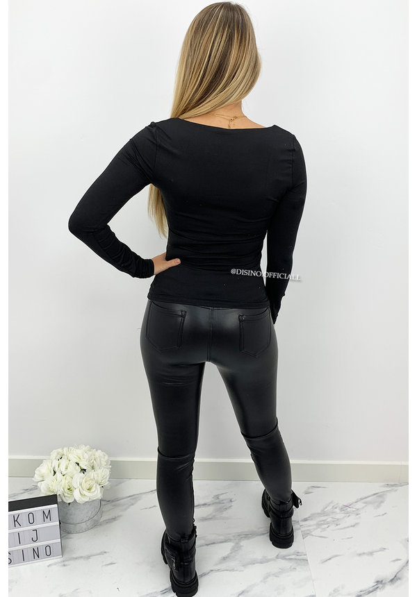 BLACK - 'NICOLE' - PERFECT FIT LONG SLEEVE TOP