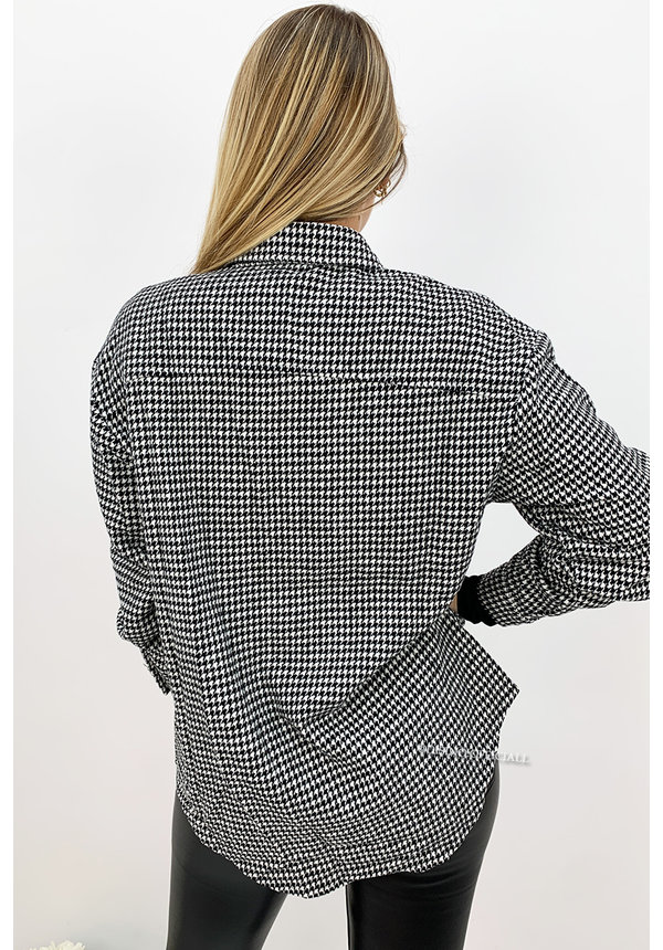 WHITE - 'CECILE' - INSPIRED PRINT OVERSIZED TWEED BLOUSE