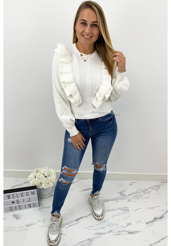 WHITE - 'EVELINE' - PREMIUM QUALITY RUFFLE SWEATER