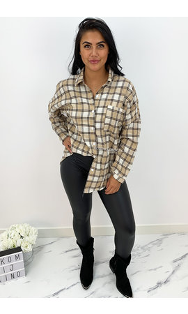 BEIGE - 'BOYFRIEND BLOUSE' - OVERSIZED CHECKED ROCK 'N ROLL BLOUSE