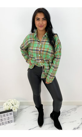 GREEN - 'BOYFRIEND BLOUSE' - OVERSIZED CHECKED ROCK 'N ROLL BLOUSE