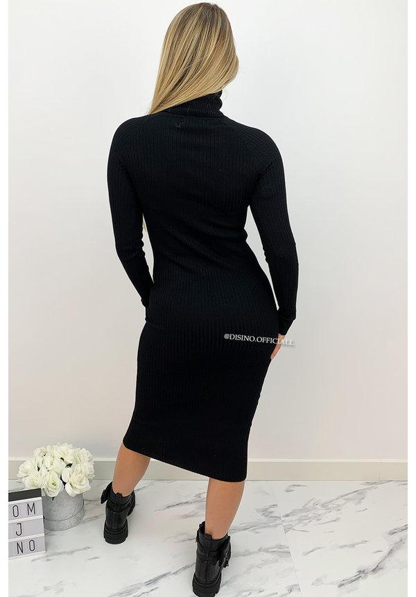 BLACK - 'DEBBIE DRESS' - BASIC LONG RIBBED COL DRESS