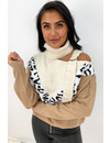BEIGE - 'BRITT GESP' -  OPEN SHOULDER OVERSIZED LEOPARD KNIT