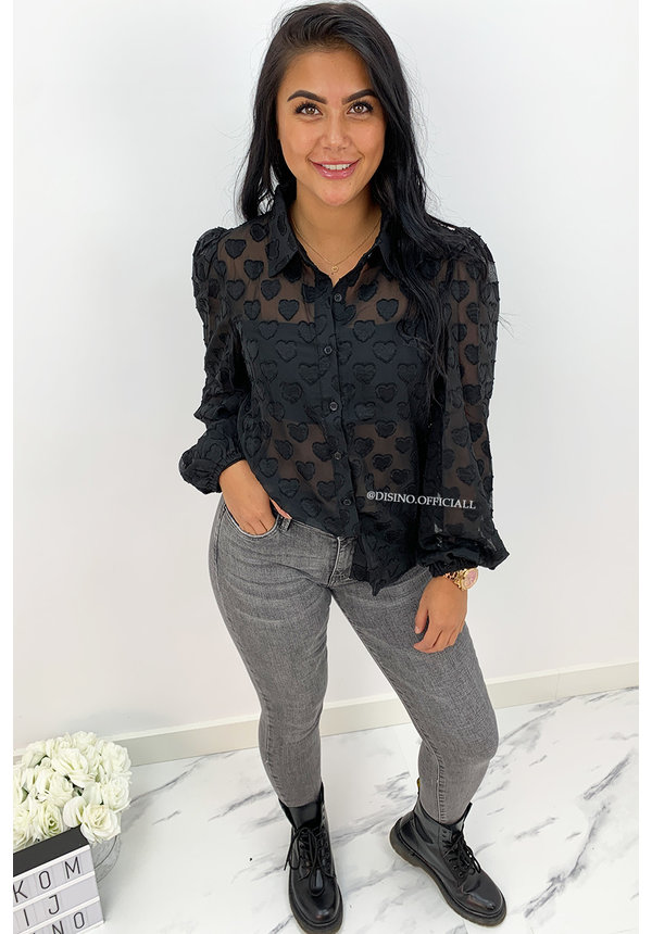 BLACK - 'DON'T LOOK AT MY HEART' - HEART PRINTED MESH BLOUSE