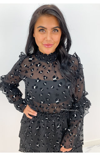 BLACK - 'MANDY BLOUSE' - PREMIUM QUALITY LEOPARD MESH BLOUSE