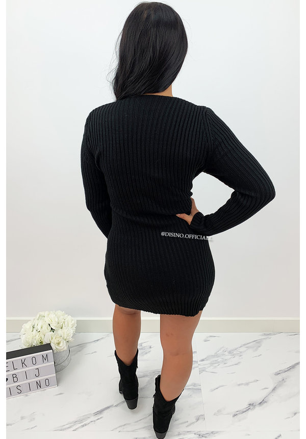BLACK - 'CHRISTEL' - SOFT TOUCH KNITTED KNOT DRESS