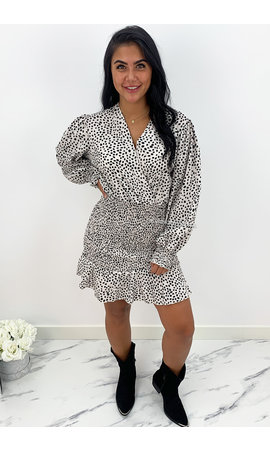 OFF WHITE - 'JANICE' - LEOPARD PRINT LONG SLEEVE DRESS