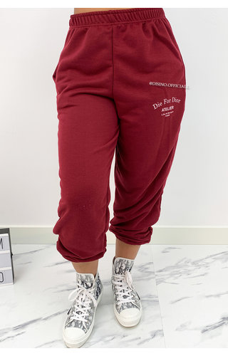 WINE RED - 'DIE FOR DIOR JOGGER' - SOFT TOUCH JOGGER PANTS