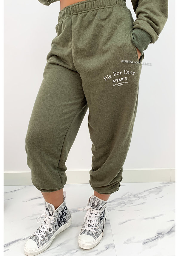 KHAKI GREEN - 'DIE FOR DIOR JOGGER' - SOFT TOUCH JOGGER PANTS