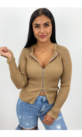 CAMEL - 'KENDALL' - ZIPPED TOP