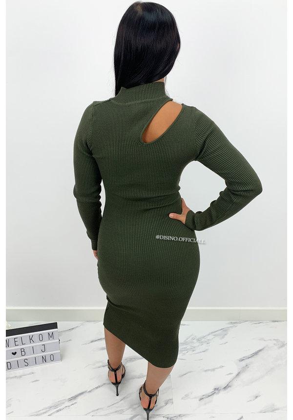 KHAKI GREEN - 'ASMARA' - RIBBED MAXI CUT OUT DRESS