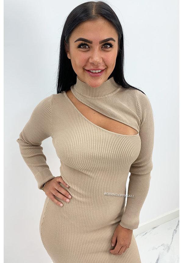 BEIGE - 'ASMARA' - RIBBED MAXI CUT OUT DRESS
