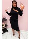 BLACK - 'ASMARA' - RIBBED MAXI CUT OUT DRESS