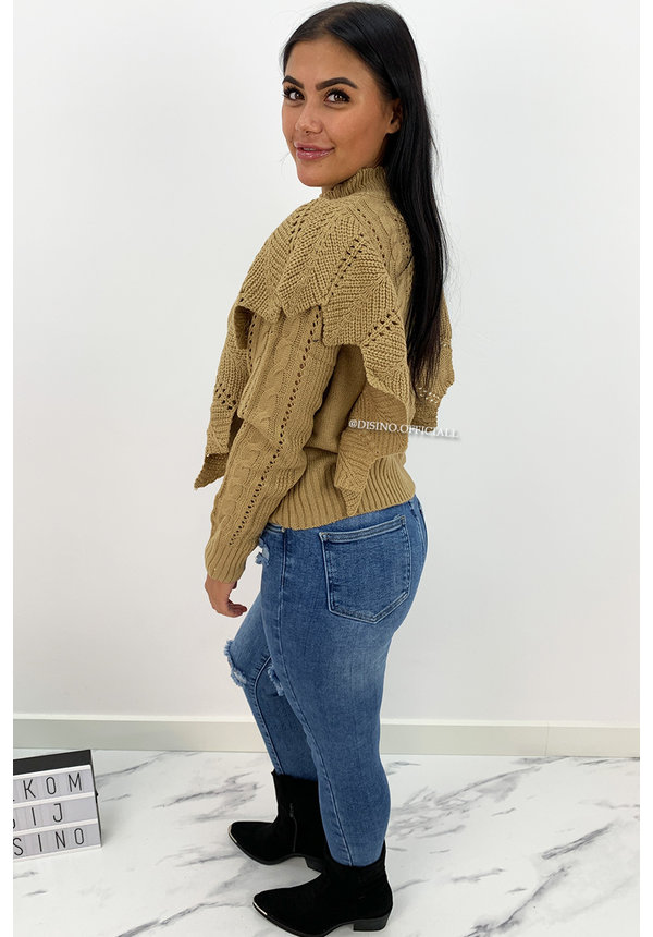 CAMEL - 'LIVIA' - PREMIUM QUALITY KNITTED RUFFLE SWEATER