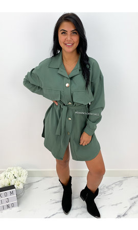 KHAKI GREEN - 'INAYA' - CARGO DRESS