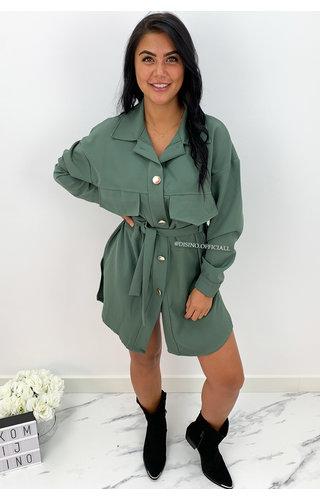 KHAKI GREEN - 'INAYA' - CARGO DRESS