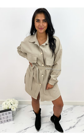 BEIGE - 'INAYA' - CARGO DRESS