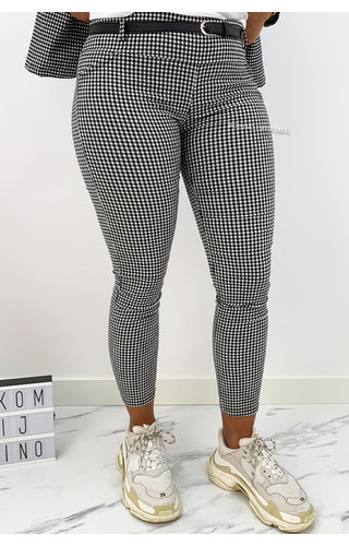 BLACK - 'MONICA' - CHECKERED STRETCH PANTS WITH BELT