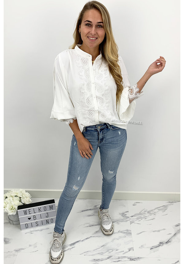 WHITE - 'LUCINDE' - PREMIUM QUALITY LACE BLOUSE