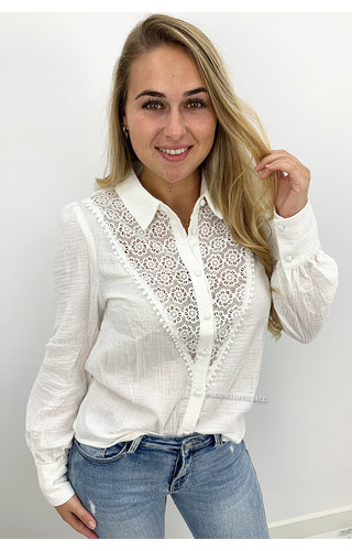 WHITE - 'LILIANA' - LINNEN LACE BLOUSE