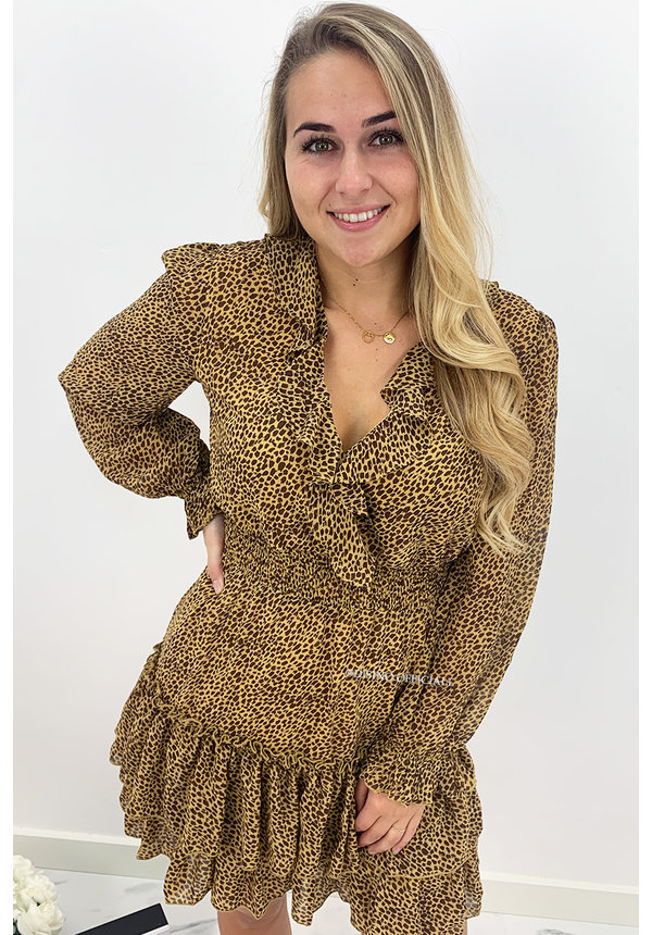CAMEL - 'RICHELLA' - LEOPARD PRINT RUFFLE DRESS