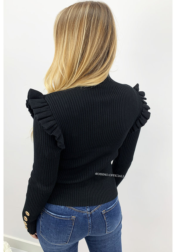 BLACK - 'LUCIA' - RIBBED GOLD BUTTON RUFFLE TOP