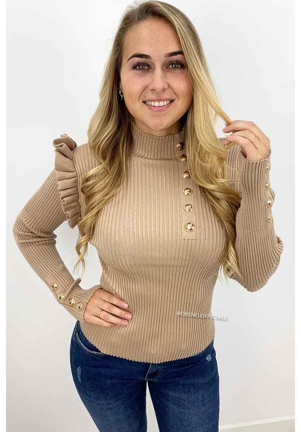 BEIGE - 'LUCIA' - RIBBED GOLD BUTTON RUFFLE TOP