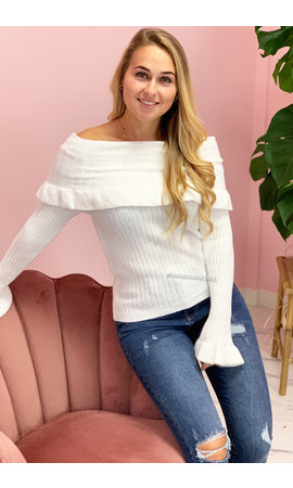 WHITE - 'LANÈCHE' - OFF SHOULDER TOP