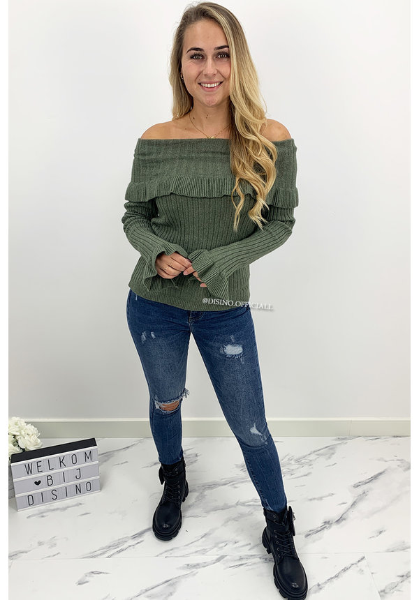 ARMY GREEN - 'LANÈCHE' - OFF SHOULDER TOP