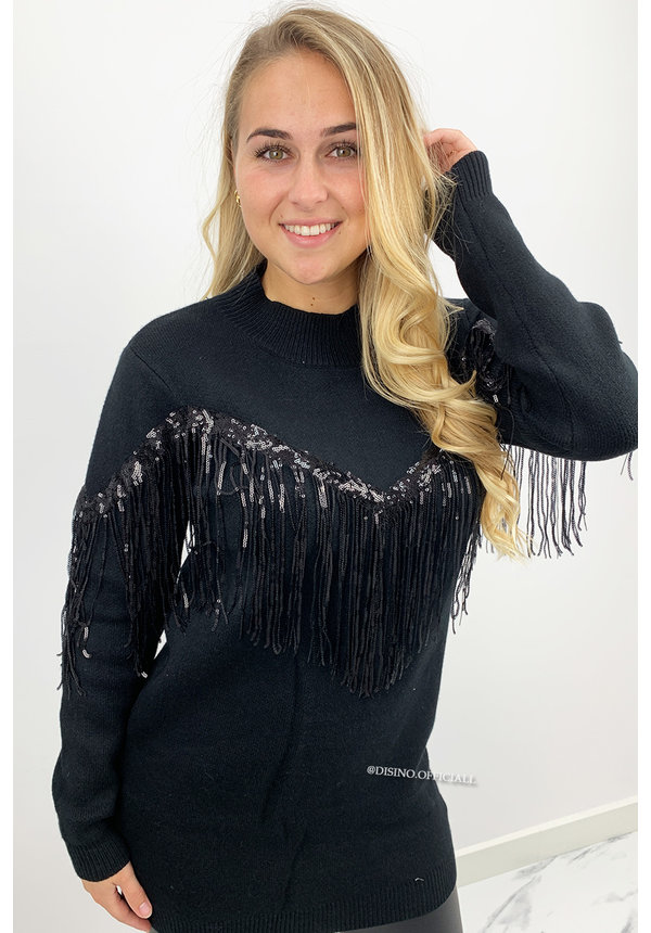 BLACK - 'INDY' - OVERSIZED PREMIUM QUALITY FRINGE SWEATER DRESS