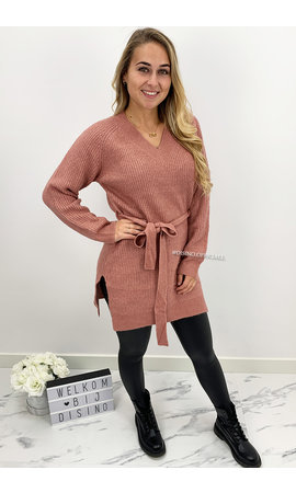 DUSTY PINK - 'EMILIA' - PREMIUM QUALITY KNOT KNIT DRESS