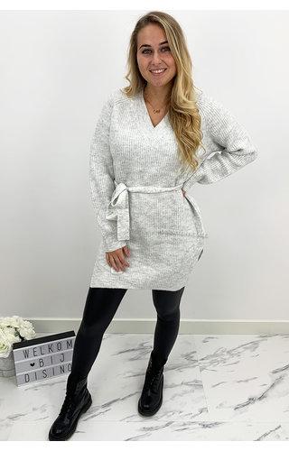 GREY - 'EMILIA' - PREMIUM QUALITY KNOT KNIT DRESS