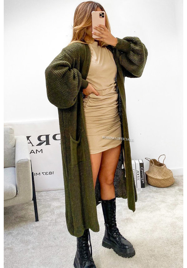 ARMY GREEN - 'SAAR' - KNITTED BALLOON SLEEVE MAXI VEST