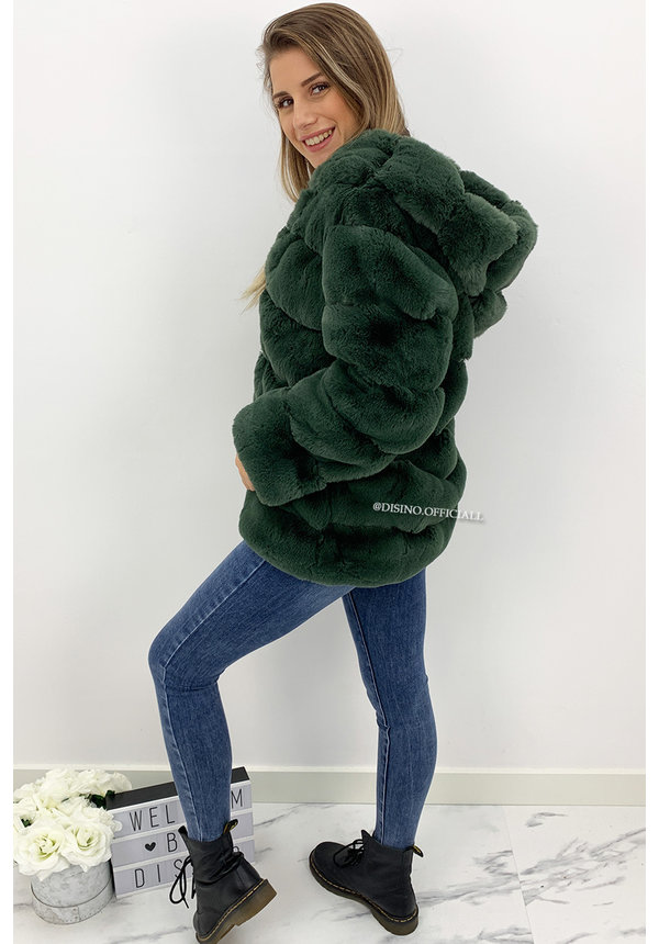 PETROL GREEN - 'CUDDLE ME' - PREMIUM QUALITY FAUX FUR COAT WITH CAPUCHON