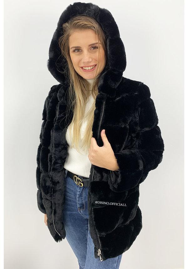 BLACK - 'CUDDLE ME' - PREMIUM QUALITY FAUX FUR COAT WITH CAPUCHON