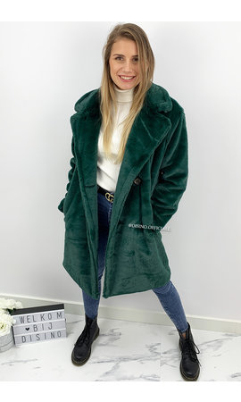 PETROL GREEN - 'FLUFFY DIVA' - SOFT FAUX FUR COAT