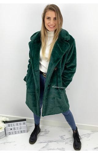 PETROL GREEN - 'FLUFFY DIVA' - SOFT FAUX FUR COAT