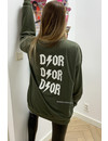 ARMY GREEN - 'DIOR ON MY BACK' - INSPIRED OVERSIZED SWEATER