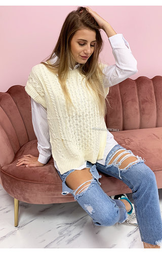 CREME - 'SASHA' - PREMIUM QUALITY KNITTED SPENCER WITH BLOUSE