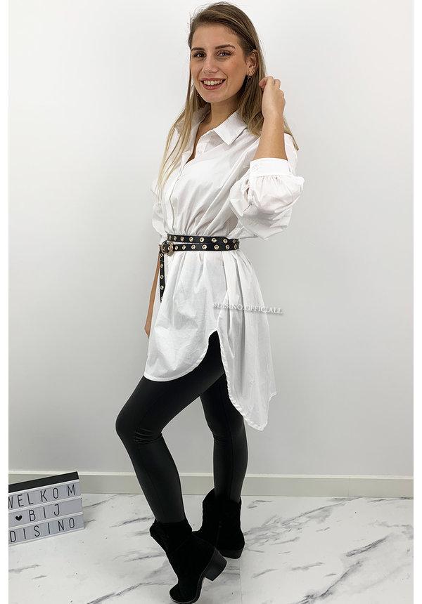 WHITE - 'EMILY' - EXTRA OVERSIZED BLOUSE DRESS